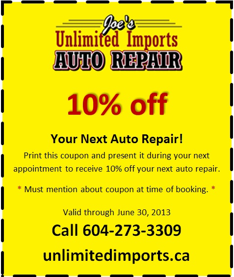 Coupon May-June 2013 | Joe's Unlimited Imports Auto Repair